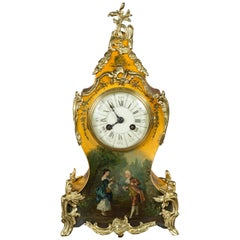 French Vernis Martin Mantel Clock by Vincenti, Paris