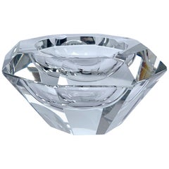 Giant Flavio Poli Bowl in Faceted Murano Glass in the Shape of a Diamond, Italy