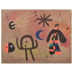 Limited edition vintage aquatint after Miró, L'Oiseau fusée, signed