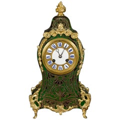 French Green Tortoiseshell Boulle Clock