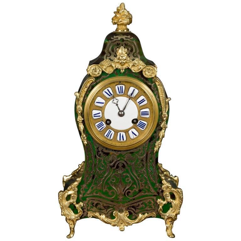 French Green Tortoiseshell Boulle Clock For Sale