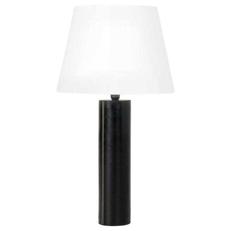 Midcentury Black Leather Table Lamp from Bergboms For Sale