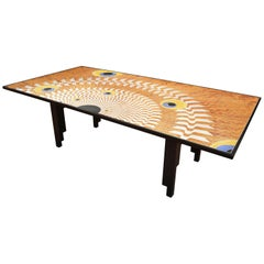 Art Deco Table Desk Scagliola and Steel Decoration on Lacquered Wood Base