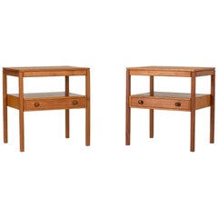 Pair of Midcentury Teak Bedside Tables by Sven Engström & Gunnar Myrstrand