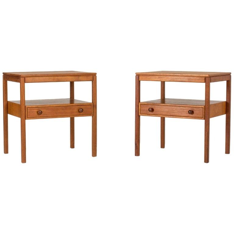 Pair of Midcentury Teak Bedside Tables by Sven Engström & Gunnar Myrstrand For Sale