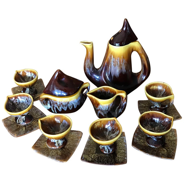 Vallauris Coffee Set Yellow Brown Ceramic, France, 1950 For Sale