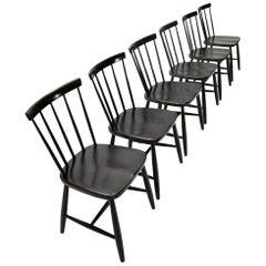 Italian Midcentury Black Dining Chair by Casa Arredo, 1960s, Set of 6