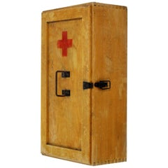Vintage Wooden First Aid Cabinet, 1950s