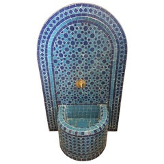 Blue on Blue Moroccan Mosaic Tile Fountain
