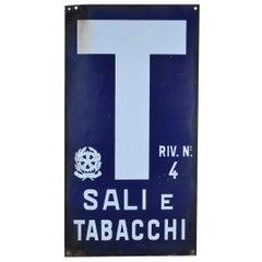1970s Blue and White Italian Vintage Enamel Tobacco Sign 'Sali e Tabacchi'