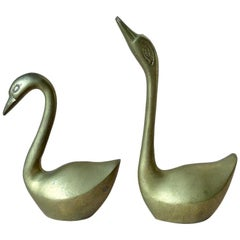 Vintage German Brass Swan Birds Figurines, Set of 2