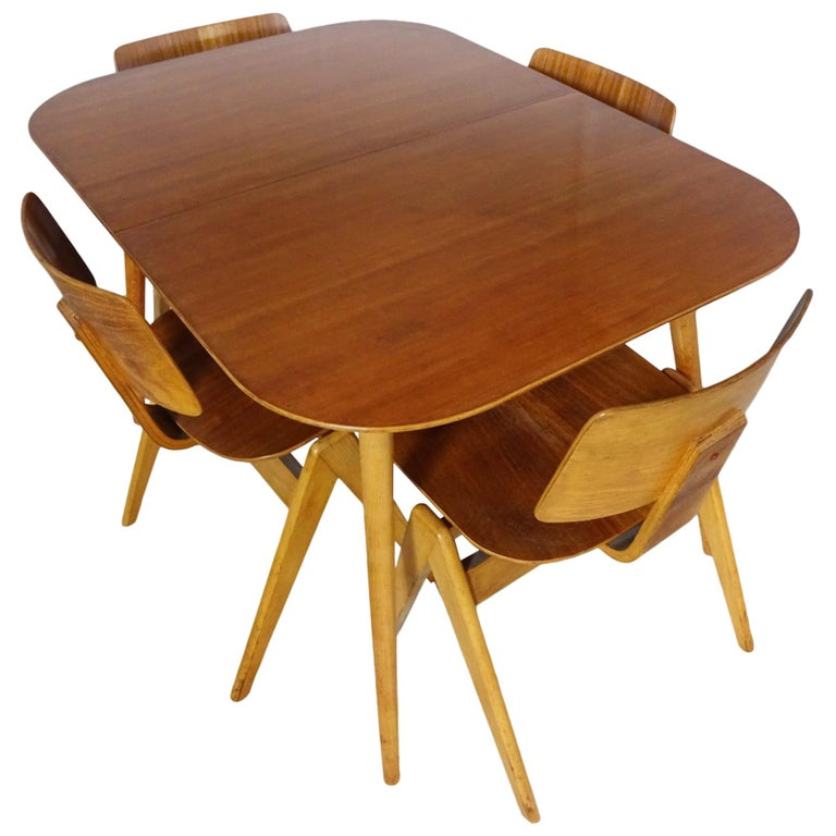 Dining Set - Robin Day for Hille Midcentury 1950s table and 4 chairs For Sale