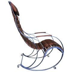 Antique Leather Campaign 'Rocking' Chair by RW Winfield