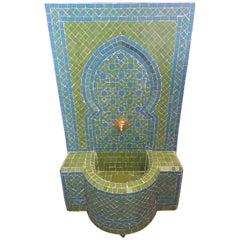 Turquoise/Lime Green Moroccan Mosaic Tile Fountain
