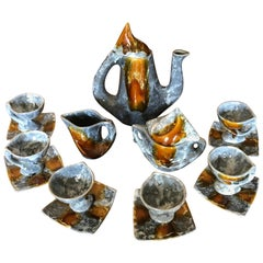 Vallauris Coffee Set, Gray Brown Ceramic, France, 1950
