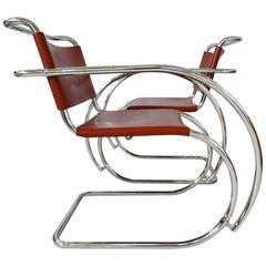 Midcentury armchairs - Leather & Chrome MR20 by Mies van der Rohe for Knoll
