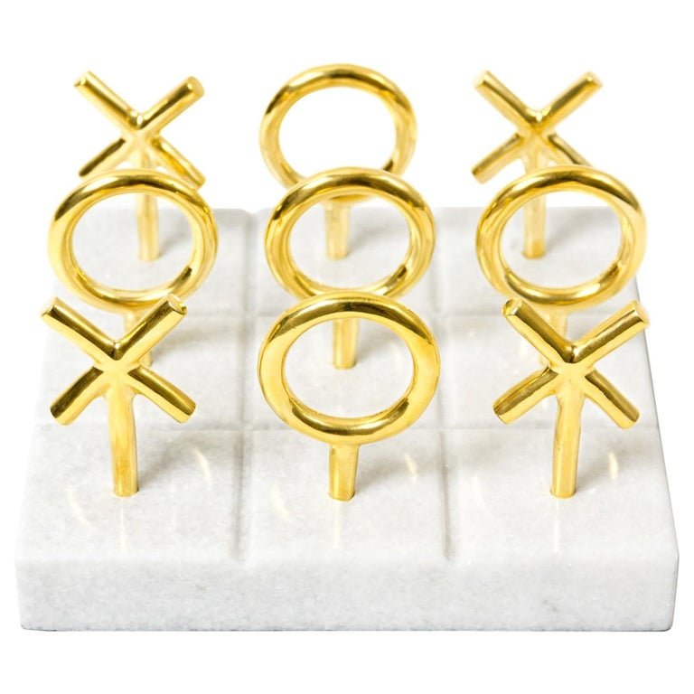 Brass and Marble Tic-Tac-Toe Set For Sale