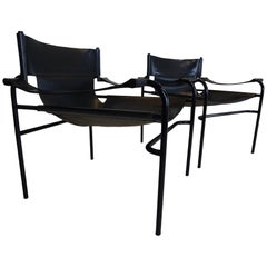 Midcentury Black Leather Lounge Chairs by Walter Antonis for 't Spectrum