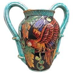 Vallauris Monaco, Ceramic Vase with Parrot Design, circa 1950