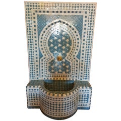Turquoise and White Moroccan Mosaic Tile Fountain