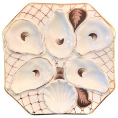 Antique Continental Hand Painted Porcelain Oyster Plate, circa 1890