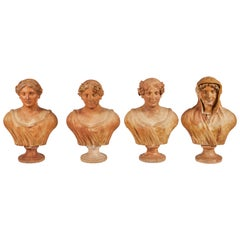 Terracotta Busts of the Seasons, Set of Four