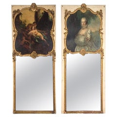 Pair of Louis XVI Style Painted and Parcel Gilt Trumeau Mirrors