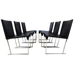 6 Dining Chairs - Black Leather and chrome by Antonio Citterio for B&B Italia