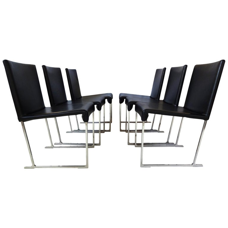 6 Dining Chairs - Black Leather and chrome by Antonio Citterio for B&B Italia  For Sale