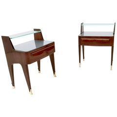 Pair of Wooden Nightstands with a Crystal Shelf and a Glass Top, Italy, 1950s