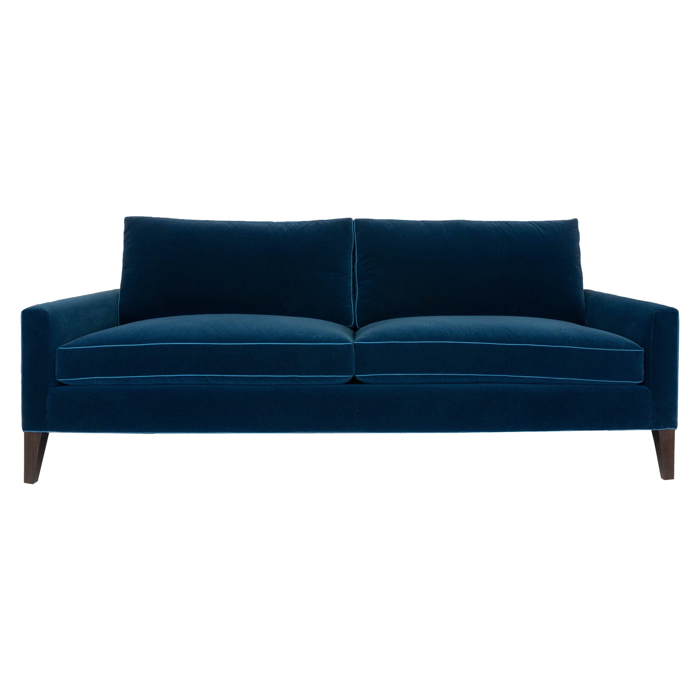 Modern Two Cushion Sofa in Dark Blue Velvet