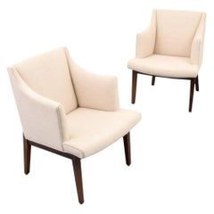 Pair of Edward Wormley Bracket Back Armchairs
