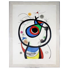 Mid-Century Modern Framed Abstract Etching Aquatint Signed Miro Galathee, 1970s
