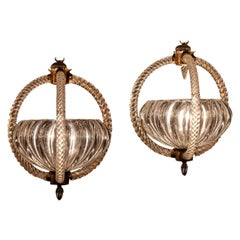 Pair of Italian Art Deco Chandeliers or Lanterns by Ercole Barovier, 1940
