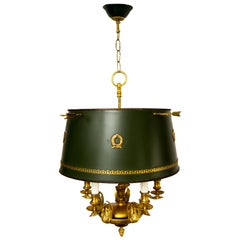 French Empire Style Gilt Bronze and Green Painted Five-Light Tole Chandelier