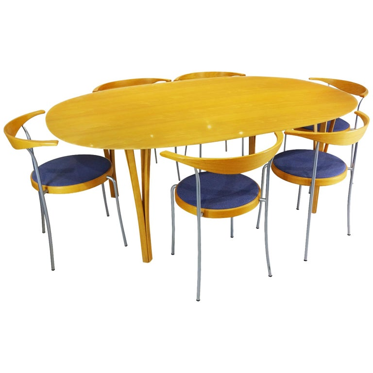 Dining set - Super Ellipse Dining Table by Piet Hein - including 8 chairs For Sale