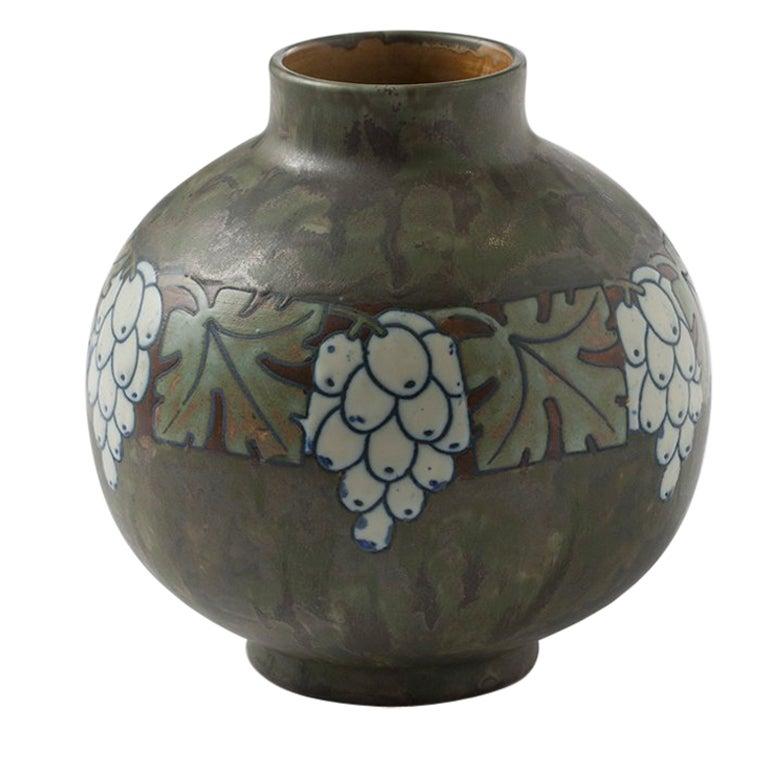 Boch Frères Keramis, Art Deco Vase with Grapes, Belgium, circa 1920