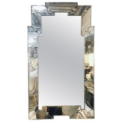 Art Deco Style Venetian Wall Console Mirror Distressed Frame Border Clear Center