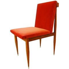Dressing Table or Occasional Chair - Antique French in coral velvet and wood