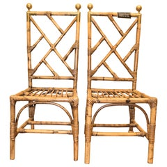 1970s Bamboo and Golden Brass French Set of 6 Chairs, Style Maison Jansen