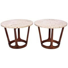 Pair of Lane American Mid-Century Modern Walnut and Round Travertine End Tables