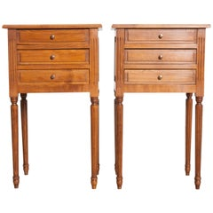 Vintage Pair of French Louis XVI Style Fruitwood Bedside Tables