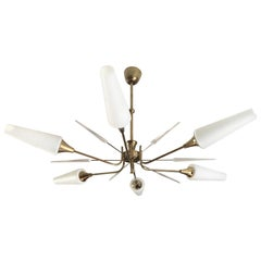 Large Midcentury Chandelier Brass and 6 White Glass Shades