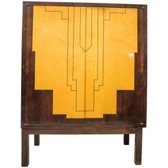 1940s French Art-Deco Style Lemongrass and Rosewood Cabinet