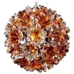 Italian Murano Glass Flowers Sputnik Chandelier by Mazzega, 1960