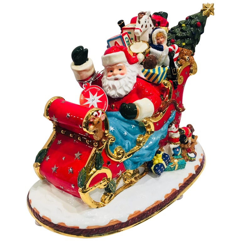 "Christopher Radko ""Sumptuous Sleighful"" Christmas Cookie Jar 20th Anniversary For Sale"