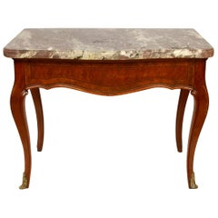 Louis XV Style Marble-Top Table with One Drawer