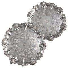 Pair of Victorian Silver Salvers/Waiters