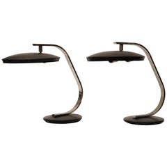Pair of Fase Mid-Century Modern Adjustable Desk Lamps, Spain