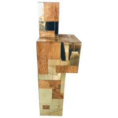 MCM Paul Evans Signed Large Three Dimensional Pedestal Brass and Burl Wood